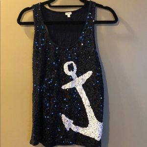 Navy blue and white sequin top